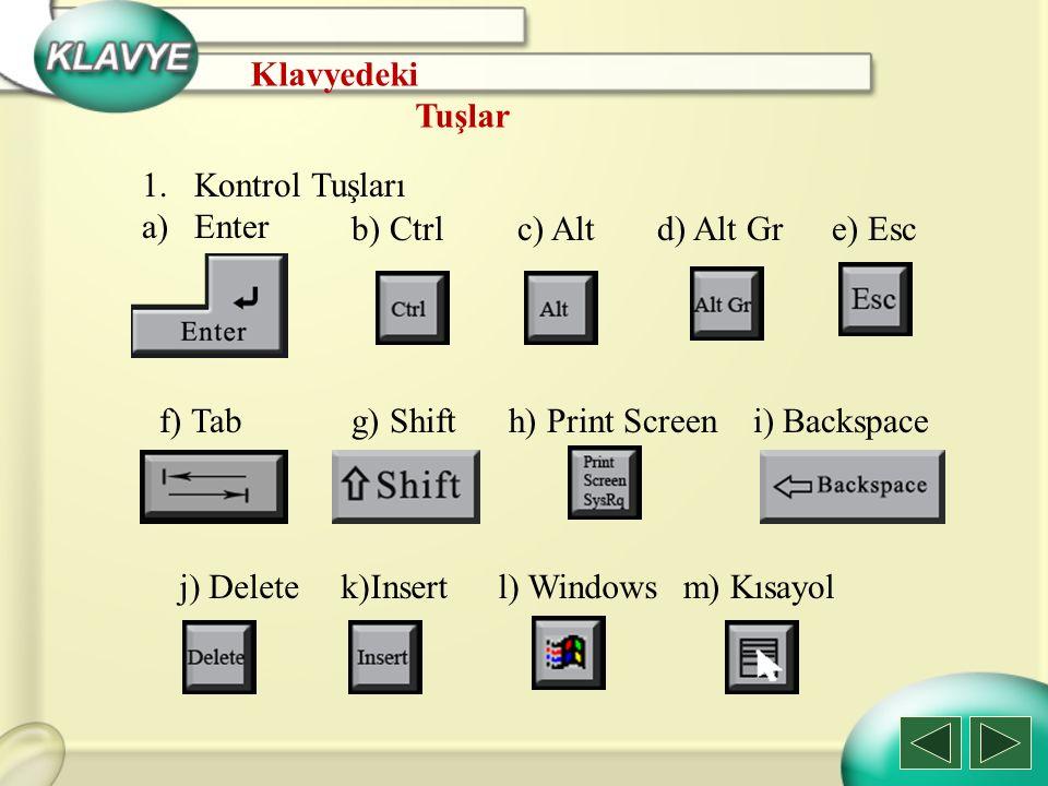 Klavyedeki Tuşlar. Kontrol Tuşları. Enter. b) Ctrl. c) Alt. d) Alt Gr. e) Esc. f) Tab. g) Shift.