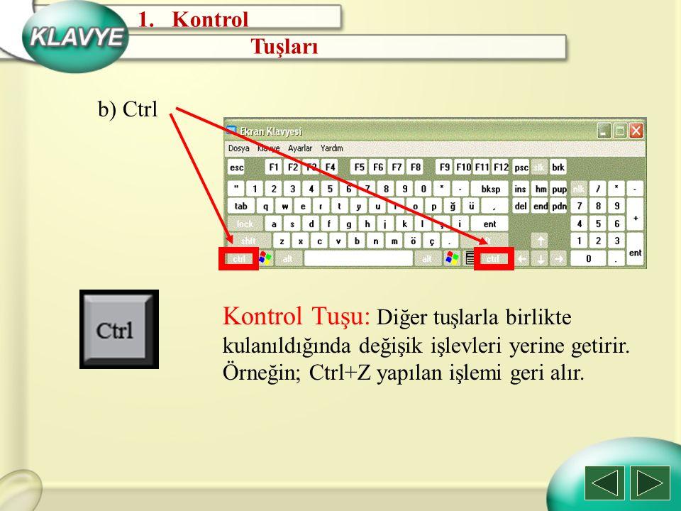 Kontrol Tuşları. b) Ctrl.