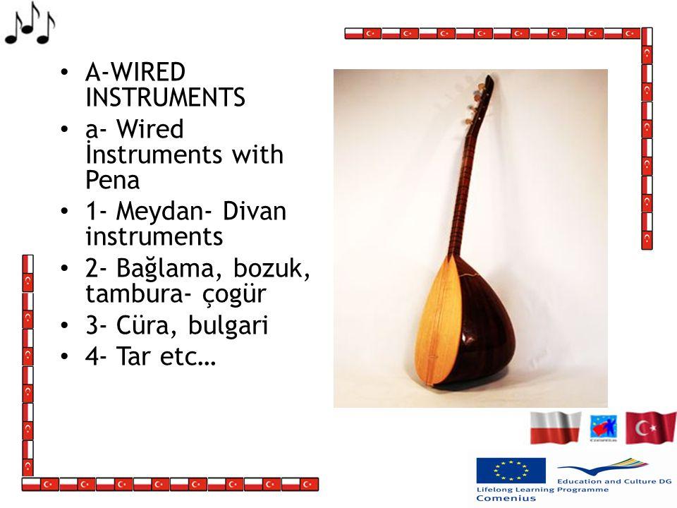 A-WIRED INSTRUMENTS a- Wired İnstruments with Pena. 1- Meydan- Divan instruments. 2- Bağlama, bozuk, tambura- çogür.