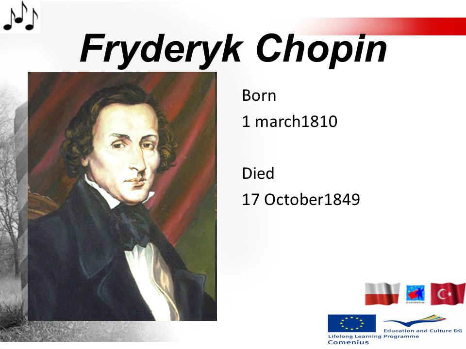 Fryderyk Chopin Born 1 march1810 Died 17 October1849