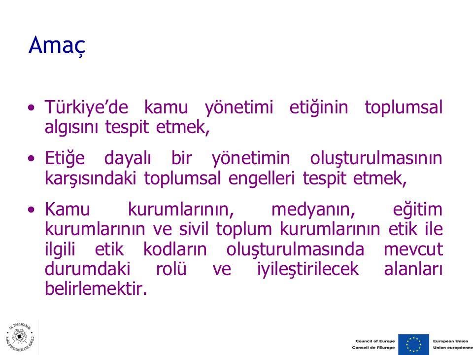 Amaç Türkiye'de kamu yönetimi etiğinin toplumsal algısını tespit etmek,