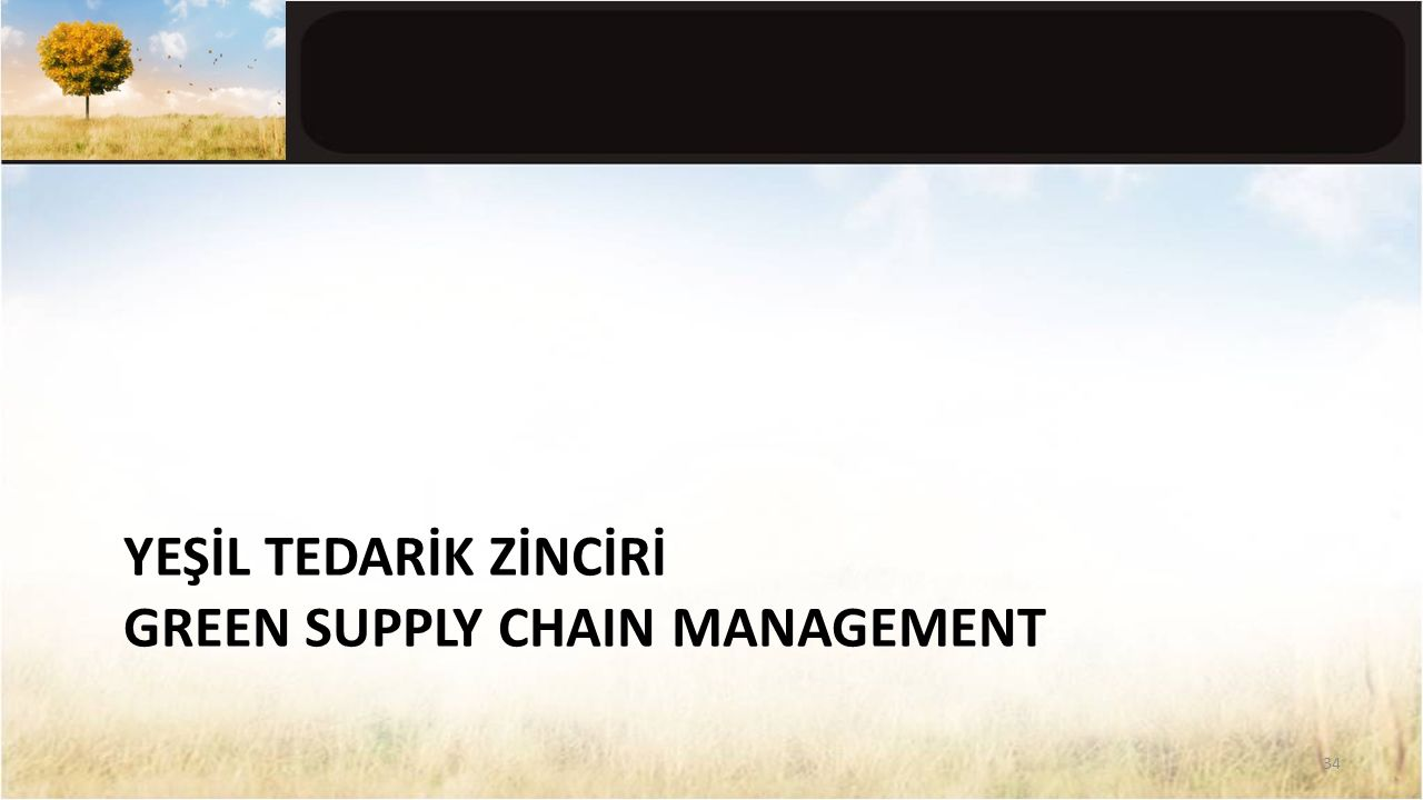 YEŞİL TEDARİK ZİNCİRİ GREEN SUPPLY CHAIN MANAGEMENT