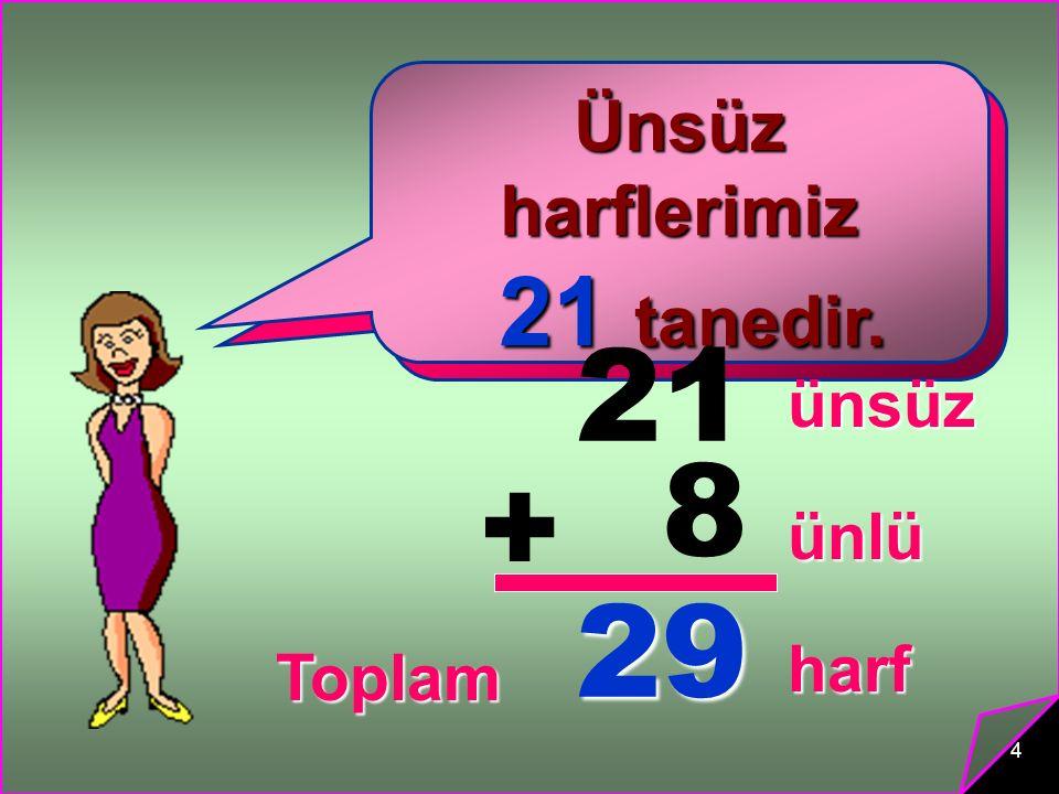 21 8 + 29 21 tanedir. 8 tanedir. Ünsüz harflerimiz Ünlü harflerimiz