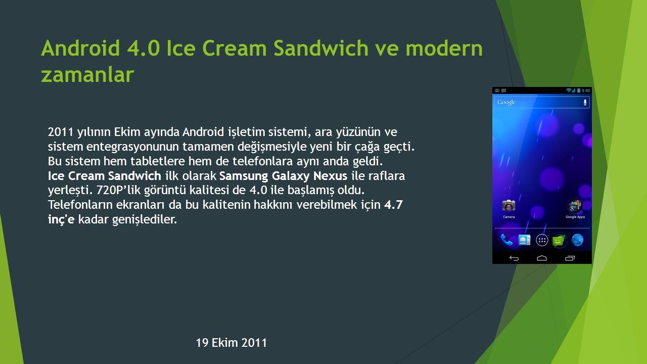 Android 4.0 Ice Cream Sandwich ve modern zamanlar