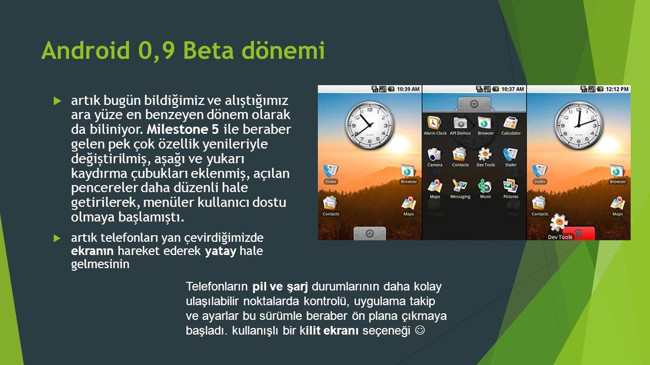 Android 0,9 Beta dönemi