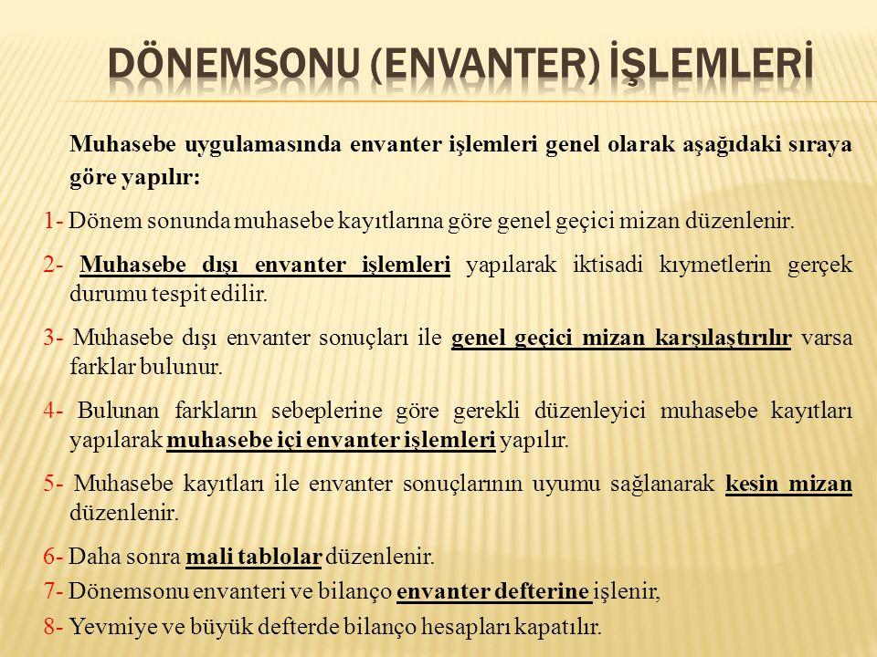 Dönemsonu (envanter) İŞLEMLERİ