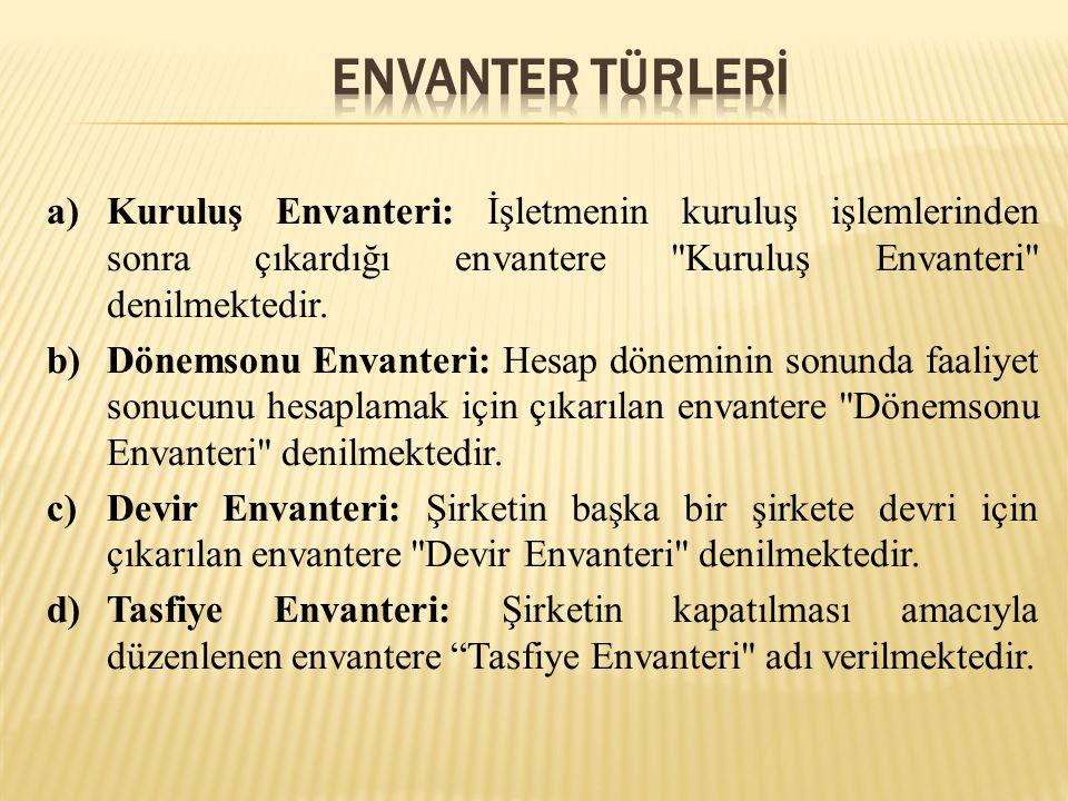 Envanter TÜRLERİ Kuruluş Envanteri: İşletmenin kuruluş işlemlerinden sonra çıkardığı envantere Kuruluş Envanteri denilmektedir.