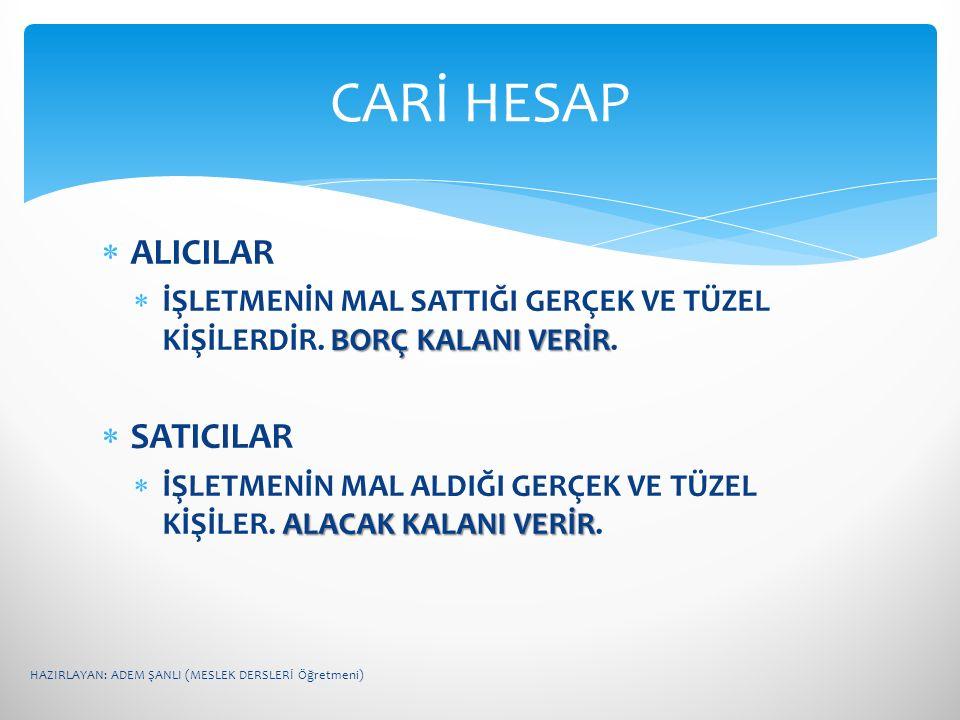 CARİ HESAP ALICILAR SATICILAR