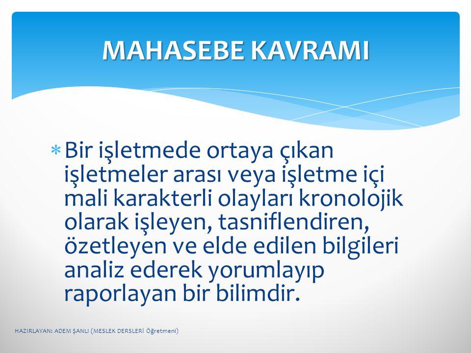 MAHASEBE KAVRAMI