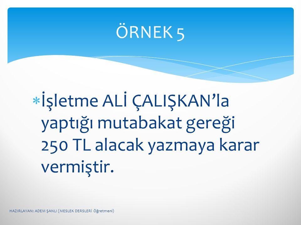 ÖRNEK 5 İşletme ALİ ÇALIŞKAN'la yaptığı mutabakat gereği 250 TL alacak yazmaya karar vermiştir.