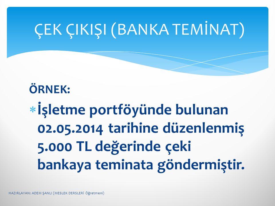 ÇEK ÇIKIŞI (BANKA TEMİNAT)