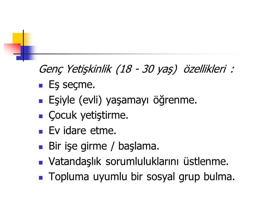 Genç Yetişkinlik (18 - 30 yaş) özellikleri :