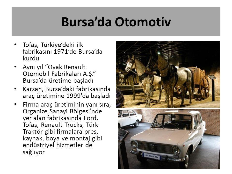 Bursa'da Otomotiv Tofaş, Türkiye'deki ilk fabrikasını 1971'de Bursa'da kurdu.
