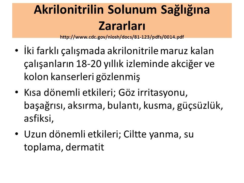 Akrilonitrilin Solunum Sağlığına Zararları http://www. cdc