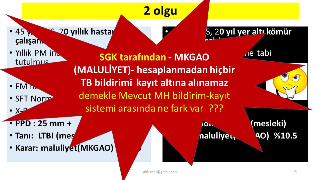 SGK tarafından - MKGAO (MALULİYET)- hesaplanmadan hiçbir TB bildirimi kayıt altına alınamaz demekle Mevcut MH bildirim-kayıt sistemi arasında ne fark var
