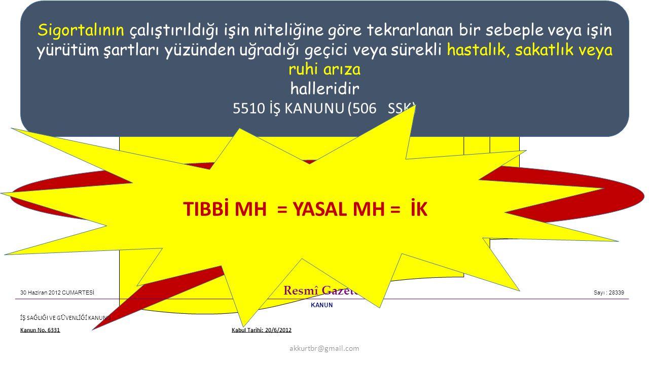 TR -Yasal Tanı TIBBİ MH = YASAL MH = İK