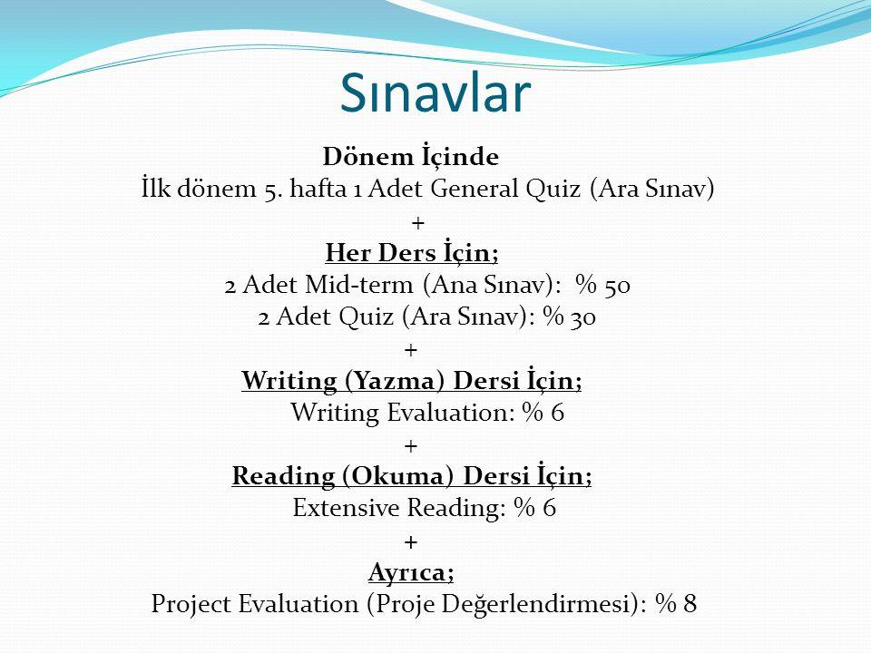 Writing (Yazma) Dersi İçin; Reading (Okuma) Dersi İçin;