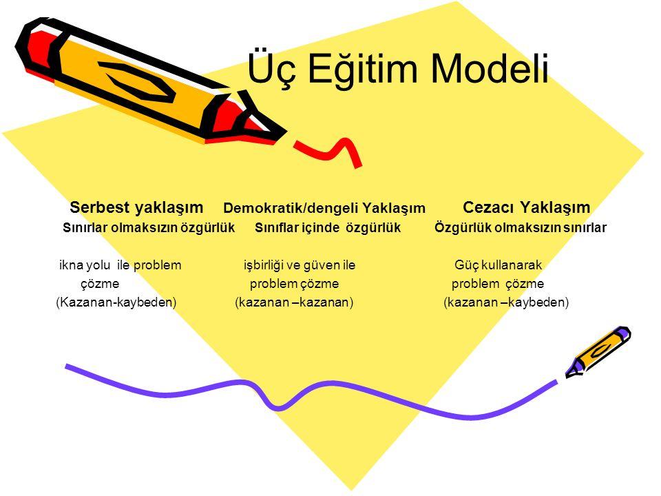 Üç Eğitim Modeli Serbest yaklaşım Demokratik/dengeli Yaklaşım Cezacı Yaklaşım.