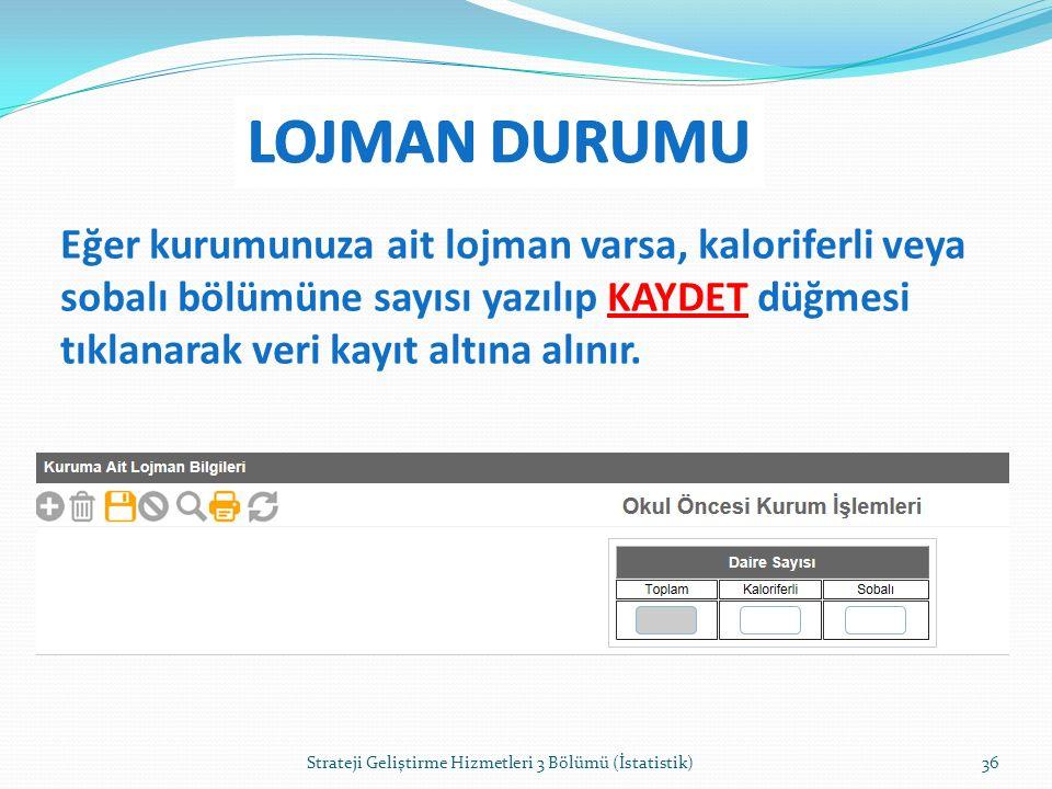LOJMAN DURUMU Eğer kurumunuza ait lojman varsa, kaloriferli veya sobalı bölümüne sayısı yazılıp KAYDET düğmesi tıklanarak veri kayıt altına alınır.