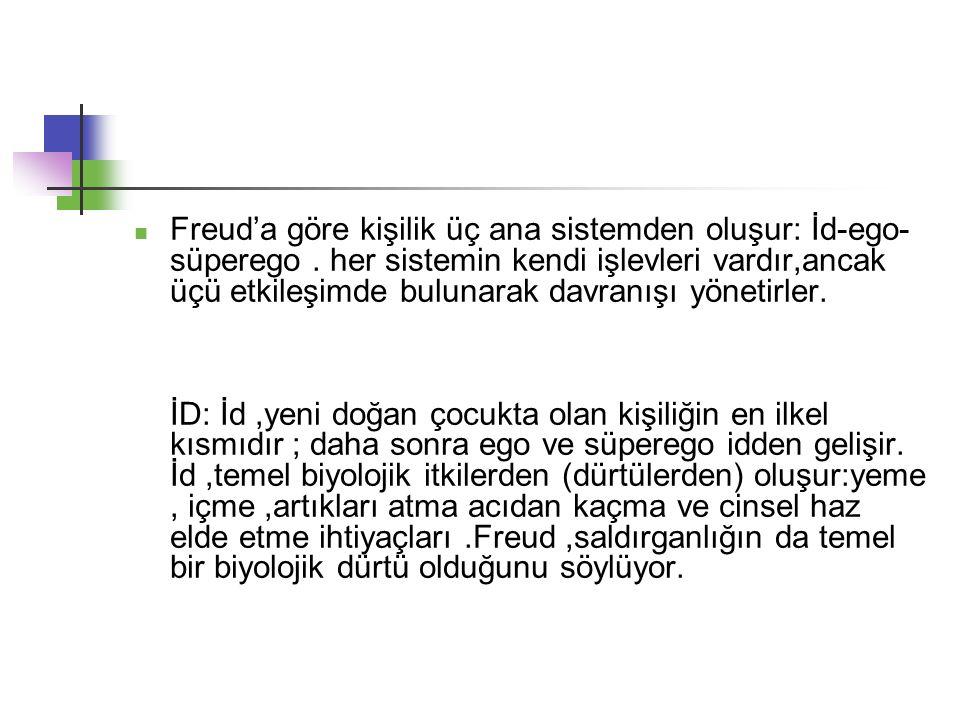 Freud'a göre kişilik üç ana sistemden oluşur: İd-ego-süperego