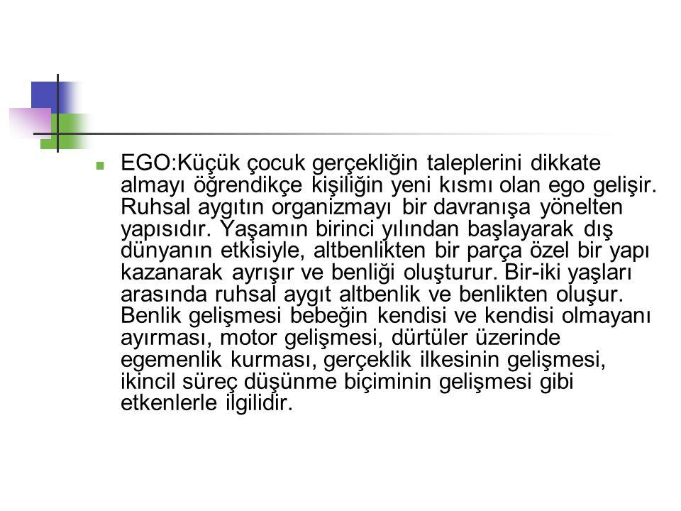 EGO:Küçük çocuk gerçekliğin taleplerini dikkate almayı öğrendikçe kişiliğin yeni kısmı olan ego gelişir.