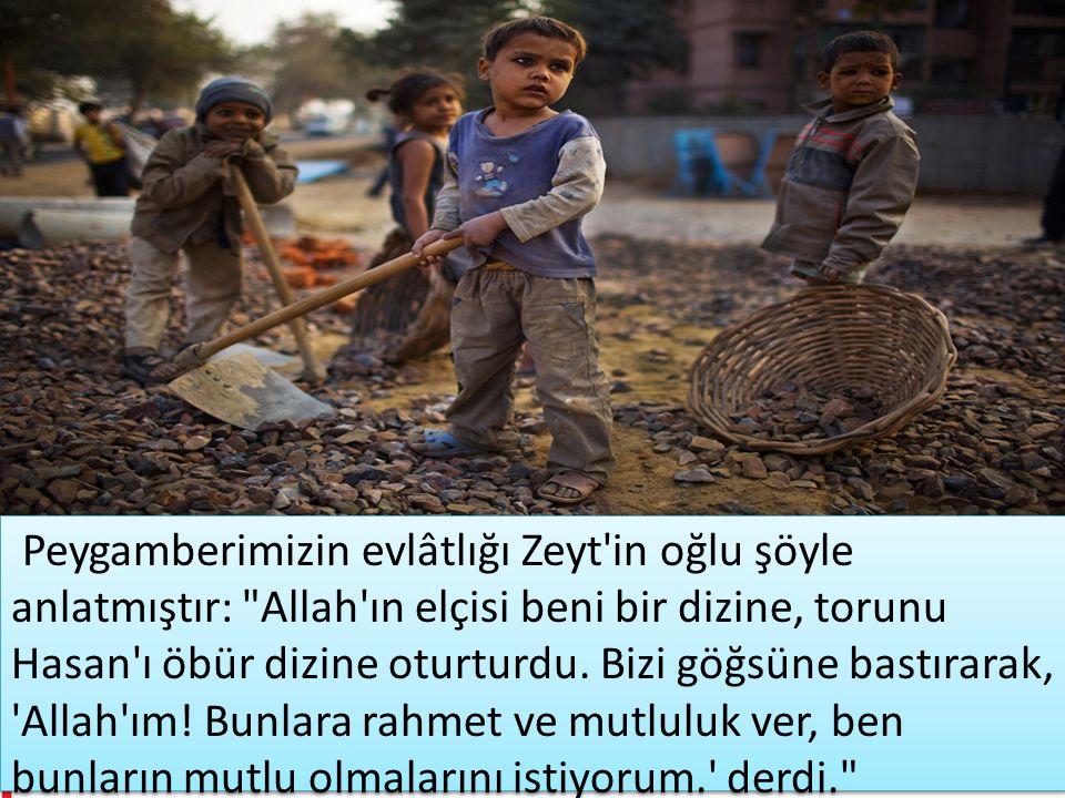 Peygamberimizin evlâtlığı Zeyt in oğlu şöyle anlatmıştır: Allah ın elçisi beni bir dizine, torunu Hasan ı öbür dizine oturturdu.