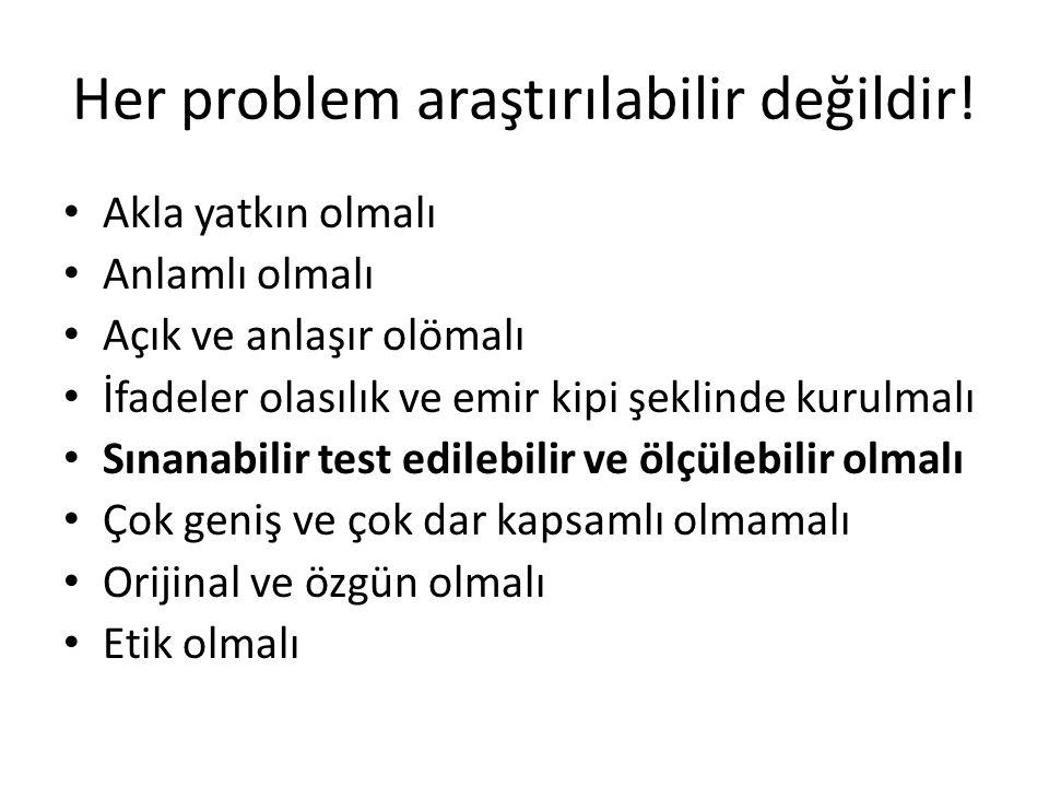 Her problem araştırılabilir değildir!