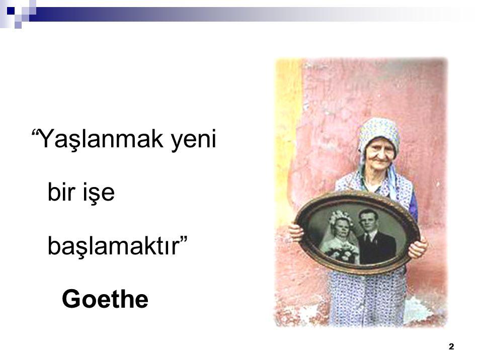 Yaşlanmak yeni bir işe başlamaktır Goethe