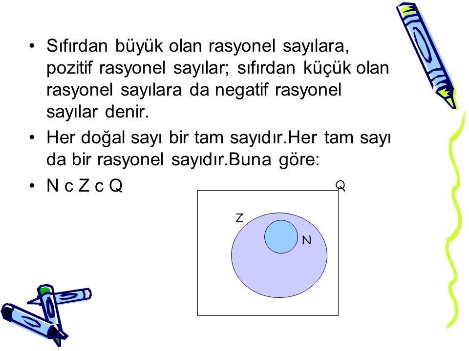 Sıfırdan büyük olan rasyonel sayılara, pozitif rasyonel sayılar; sıfırdan küçük olan rasyonel sayılara da negatif rasyonel sayılar denir.