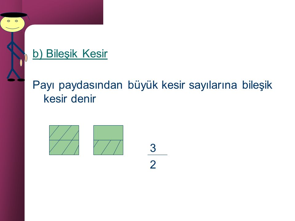 b) Bileşik Kesir Payı paydasından büyük kesir sayılarına bileşik kesir denir 3 2