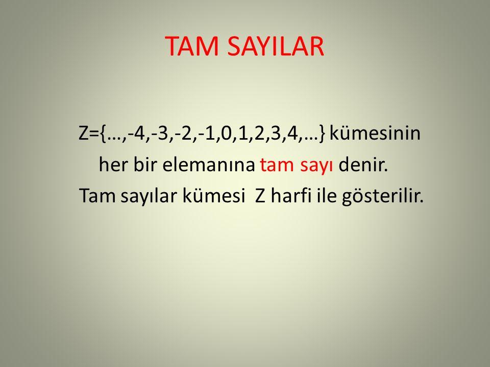 TAM SAYILAR Z={…,-4,-3,-2,-1,0,1,2,3,4,…} kümesinin her bir elemanına tam sayı denir.