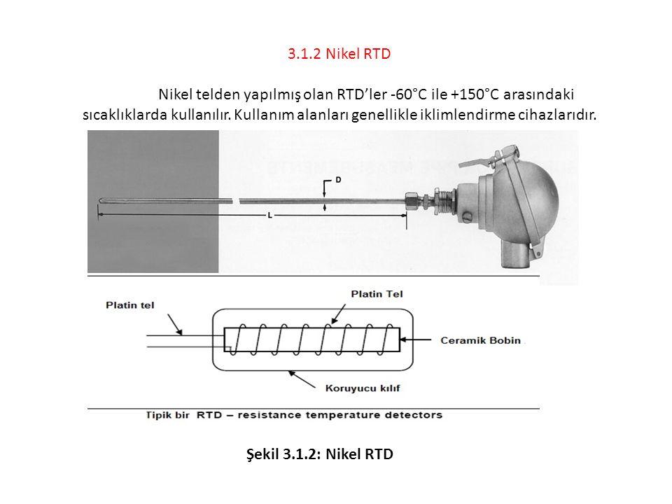 3.1.2 Nikel RTD Nikel telden yapılmış olan RTD'ler -60°C ile +150°C arasındaki sıcaklıklarda kullanılır. Kullanım alanları genellikle iklimlendirme cihazlarıdır.