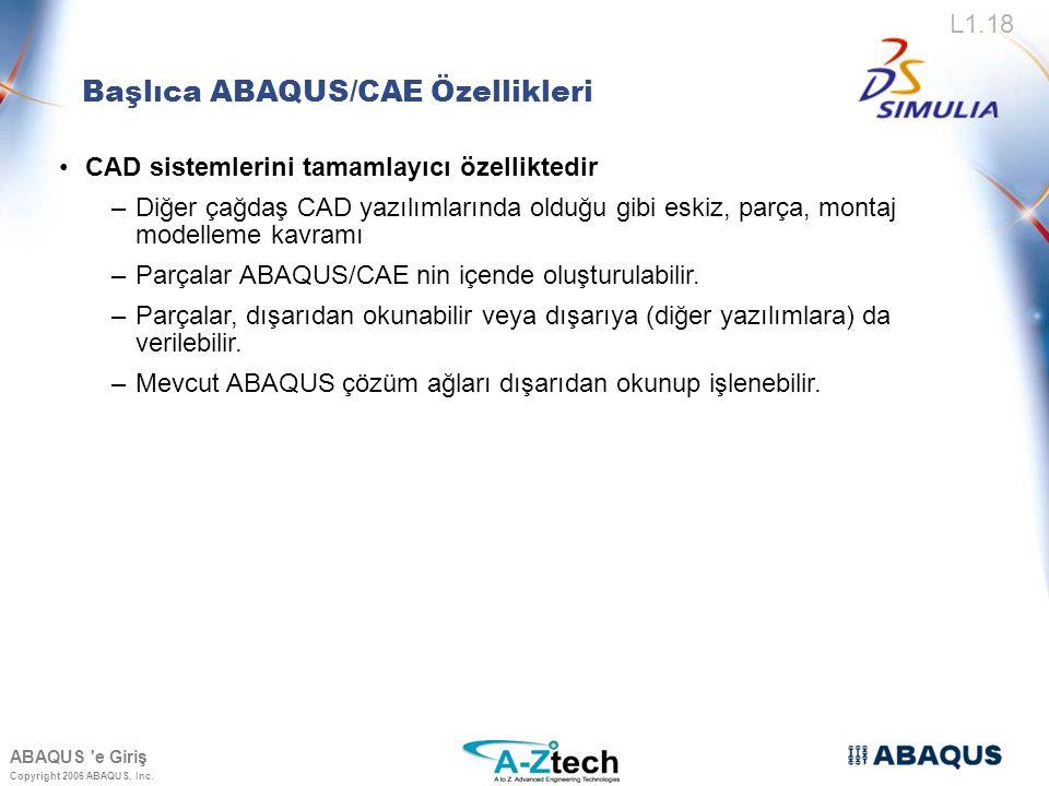 Başlıca ABAQUS/CAE Özellikleri