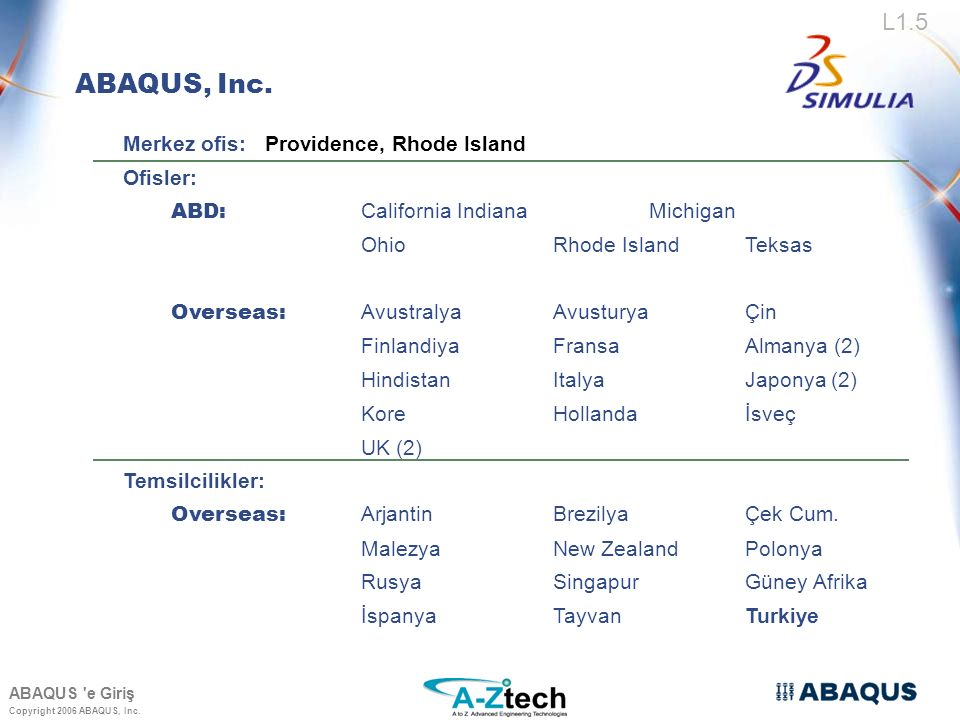 ABAQUS, Inc. Merkez ofis: Providence, Rhode Island Ofisler: