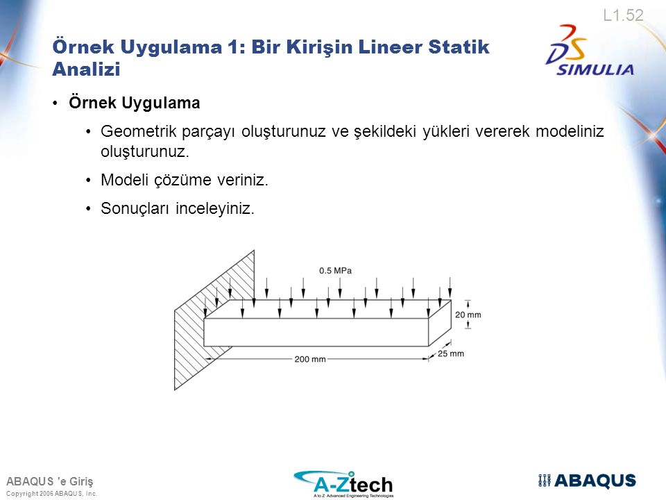 Örnek Uygulama 1: Bir Kirişin Lineer Statik Analizi