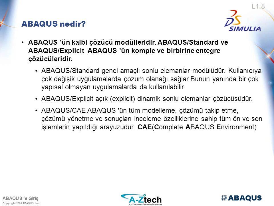 ABAQUS nedir ABAQUS ün kalbi çözücü modülleridir. ABAQUS/Standard ve ABAQUS/Explicit ABAQUS ün komple ve birbirine entegre çözücüleridir.