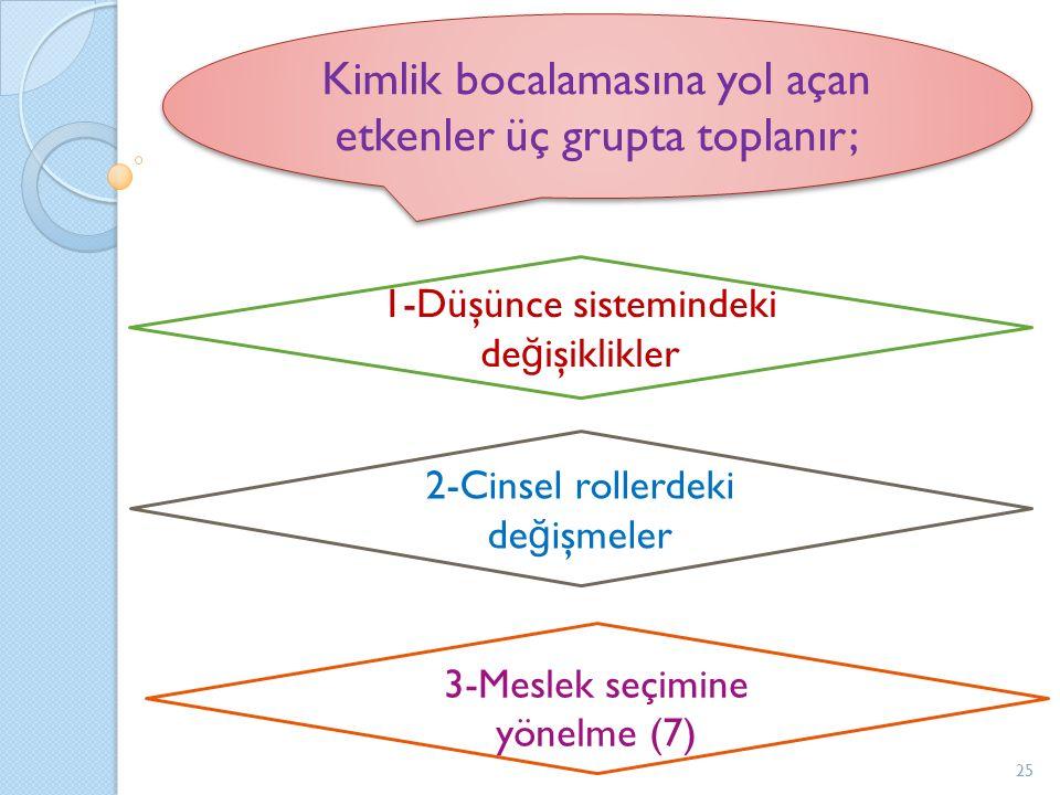 Kimlik bocalamasına yol açan etkenler üç grupta toplanır;