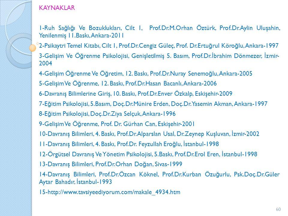 KAYNAKLAR 1-Ruh Sağlığı Ve Bozuklukları, Cilt 1, Prof.Dr.M.Orhan Öztürk, Prof.Dr.Aylin Uluşahin, Yenilenmiş 11.Baskı, Ankara-2011.