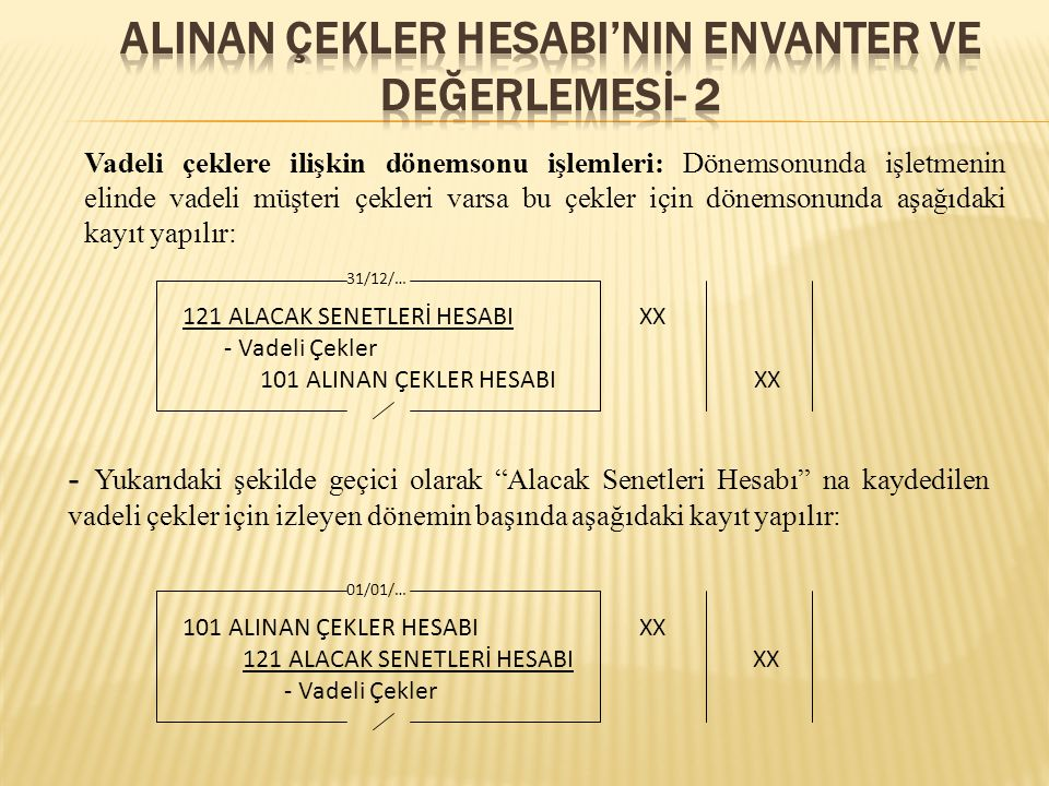 ALINAN ÇEKLER HESABI'NIN ENVANTER VE DEĞERLEMESİ- 2