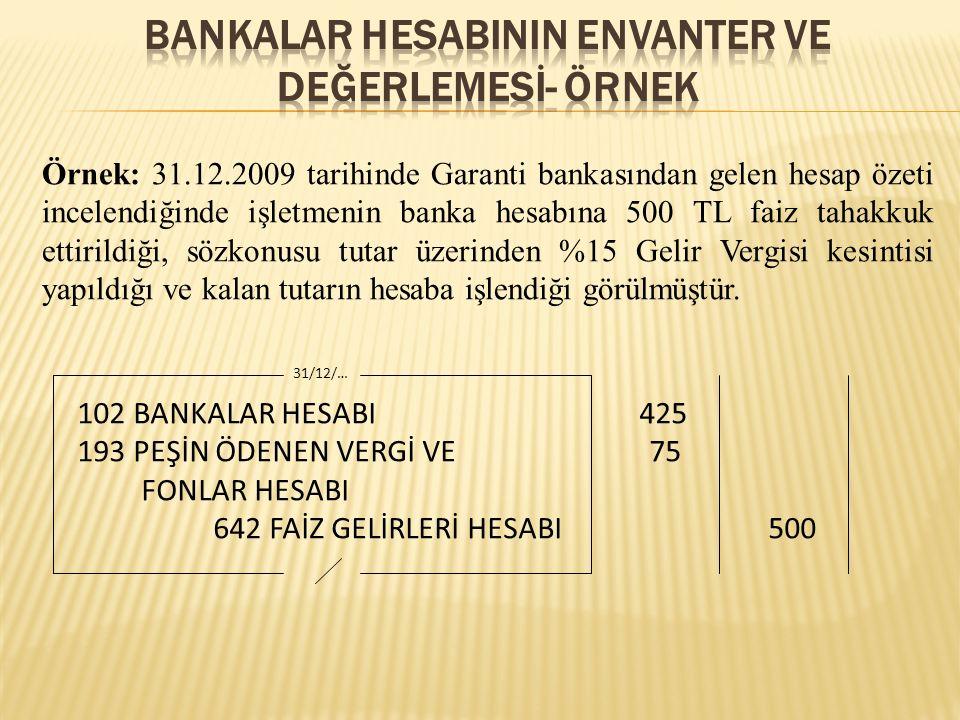 BANKALAR HESABININ ENVANTER VE DEĞERLEMESİ- ÖRNEK