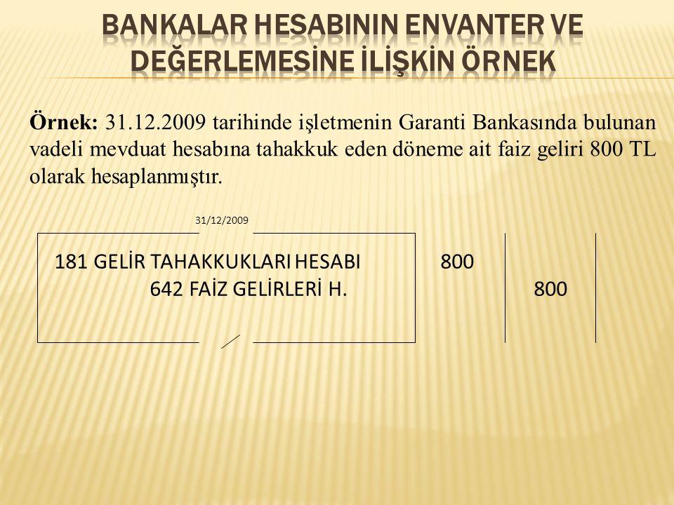 BANKALAR HESABININ ENVANTER VE DEĞERLEMESİNE İLİŞKİN ÖRNEK