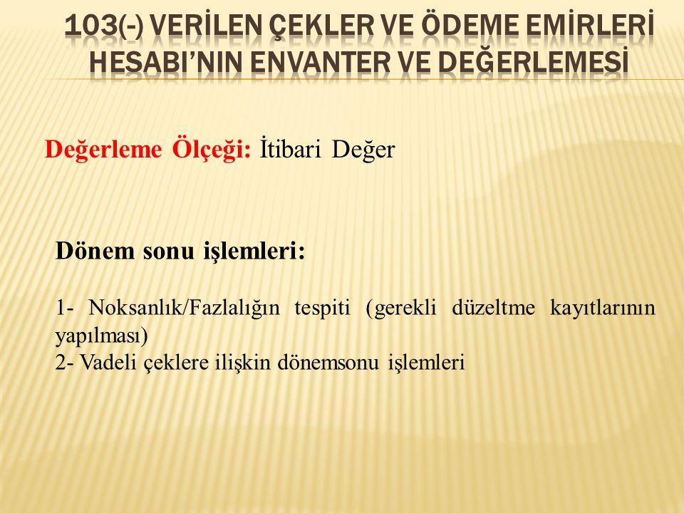 103(-) verİLEN ÇEKLER VE ÖDEME EMİRLERİ HESABI'NIN ENVANTER VE DEĞERLEMESİ