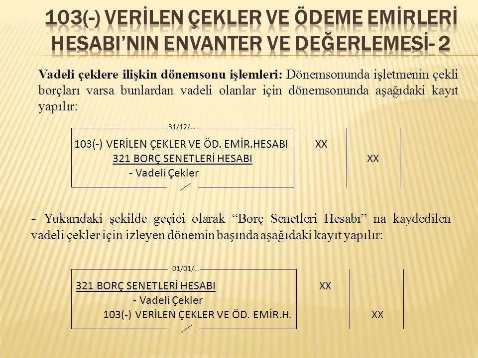 103(-) verİLEN ÇEKLER VE ÖDEME EMİRLERİ HESABI'NIN ENVANTER VE DEĞERLEMESİ- 2