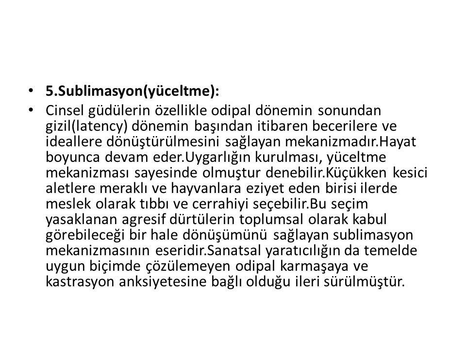 5.Sublimasyon(yüceltme):