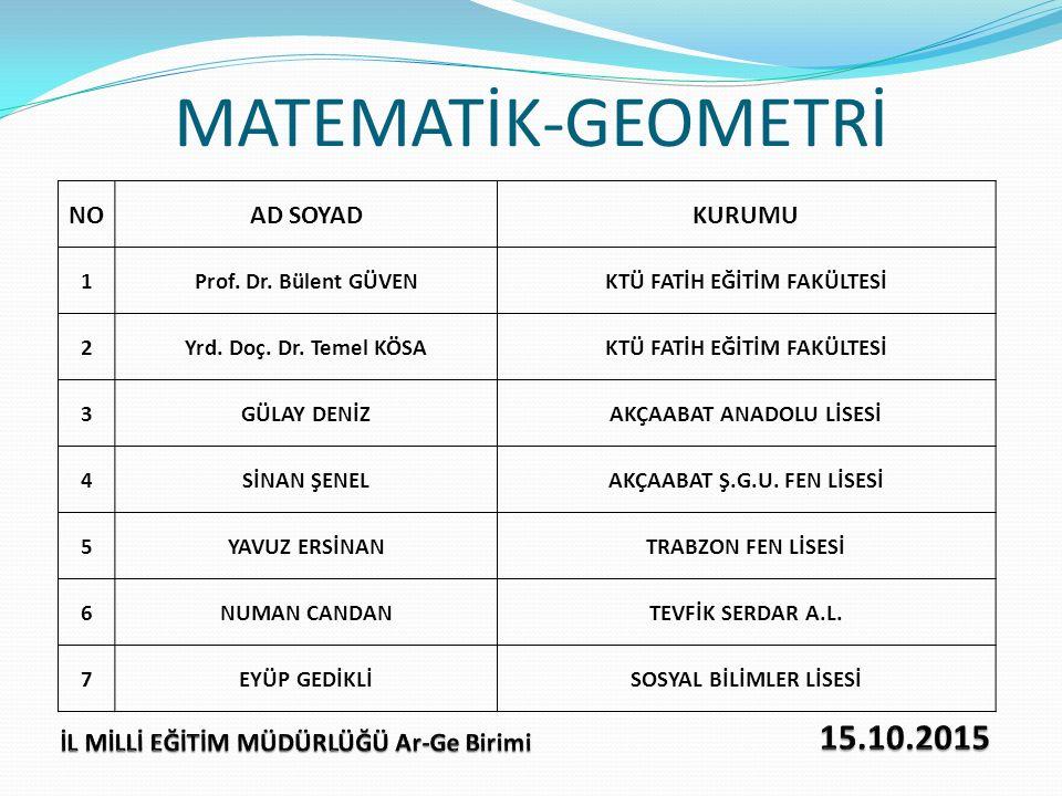 MATEMATİK-GEOMETRİ 15.10.2015 NO AD SOYAD KURUMU