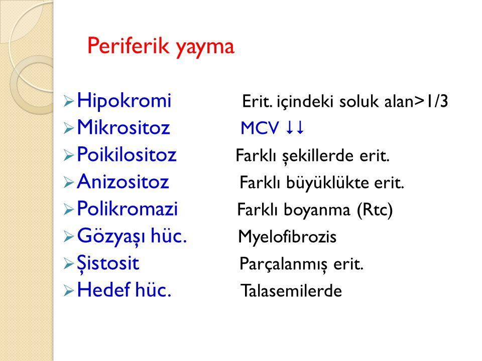 Periferik yayma Hipokromi Erit. içindeki soluk alan>1/3