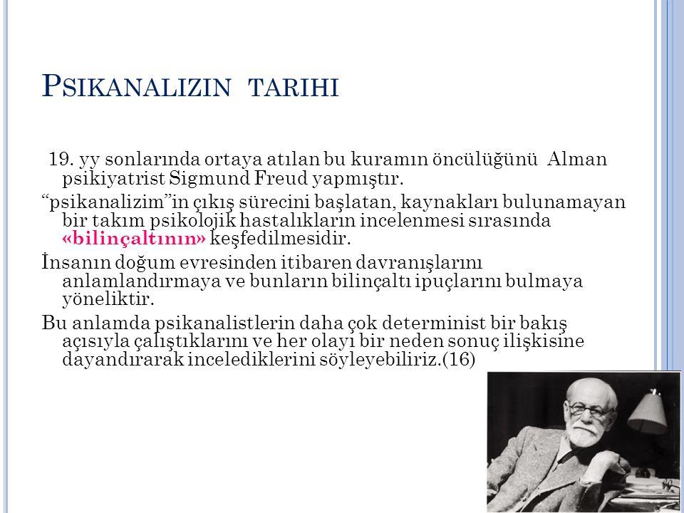 Psikanalizin tarihi 19. yy sonlarında ortaya atılan bu kuramın öncülüğünü Alman psikiyatrist Sigmund Freud yapmıştır.