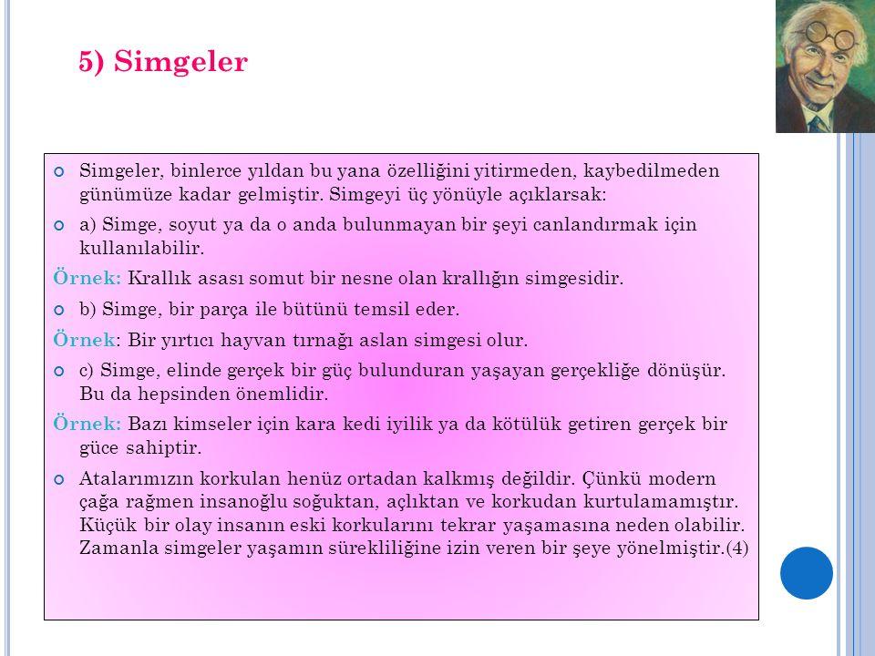 5) Simgeler Simgeler, binlerce yıldan bu yana özelliğini yitirmeden, kaybedilmeden günümüze kadar gelmiştir. Simgeyi üç yönüyle açıklarsak: