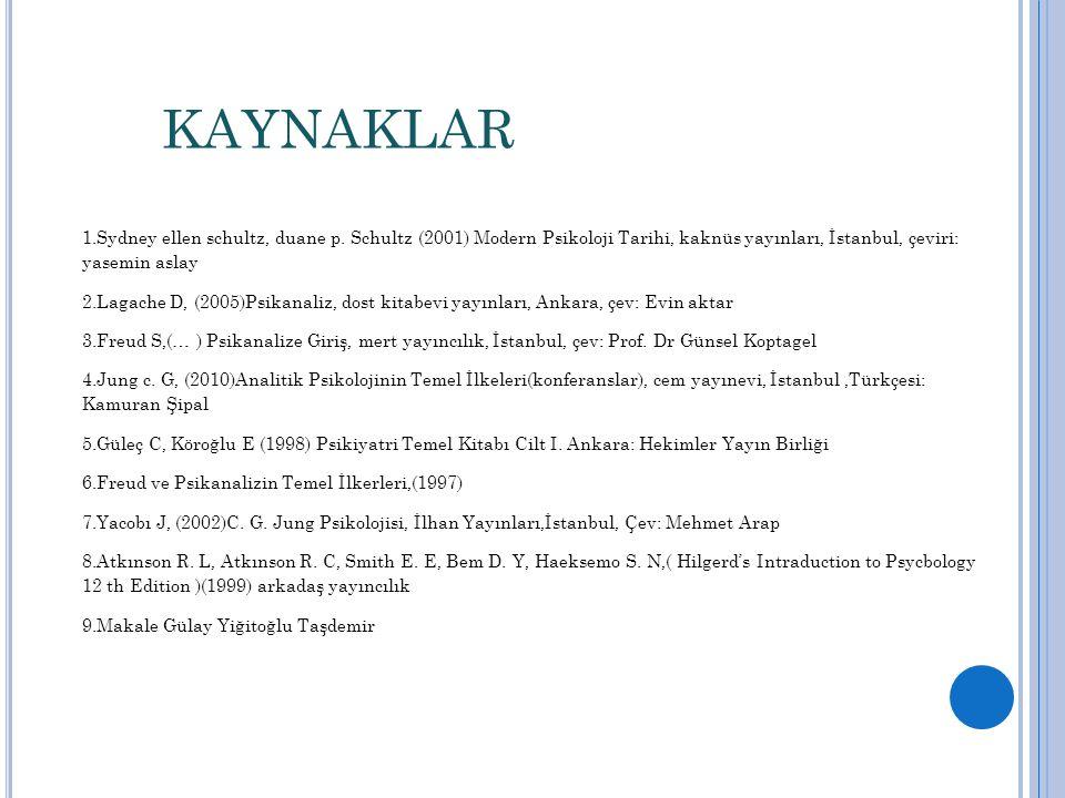 KAYNAKLAR Sydney ellen schultz, duane p. Schultz (2001) Modern Psikoloji Tarihi, kaknüs yayınları, İstanbul, çeviri: yasemin aslay.