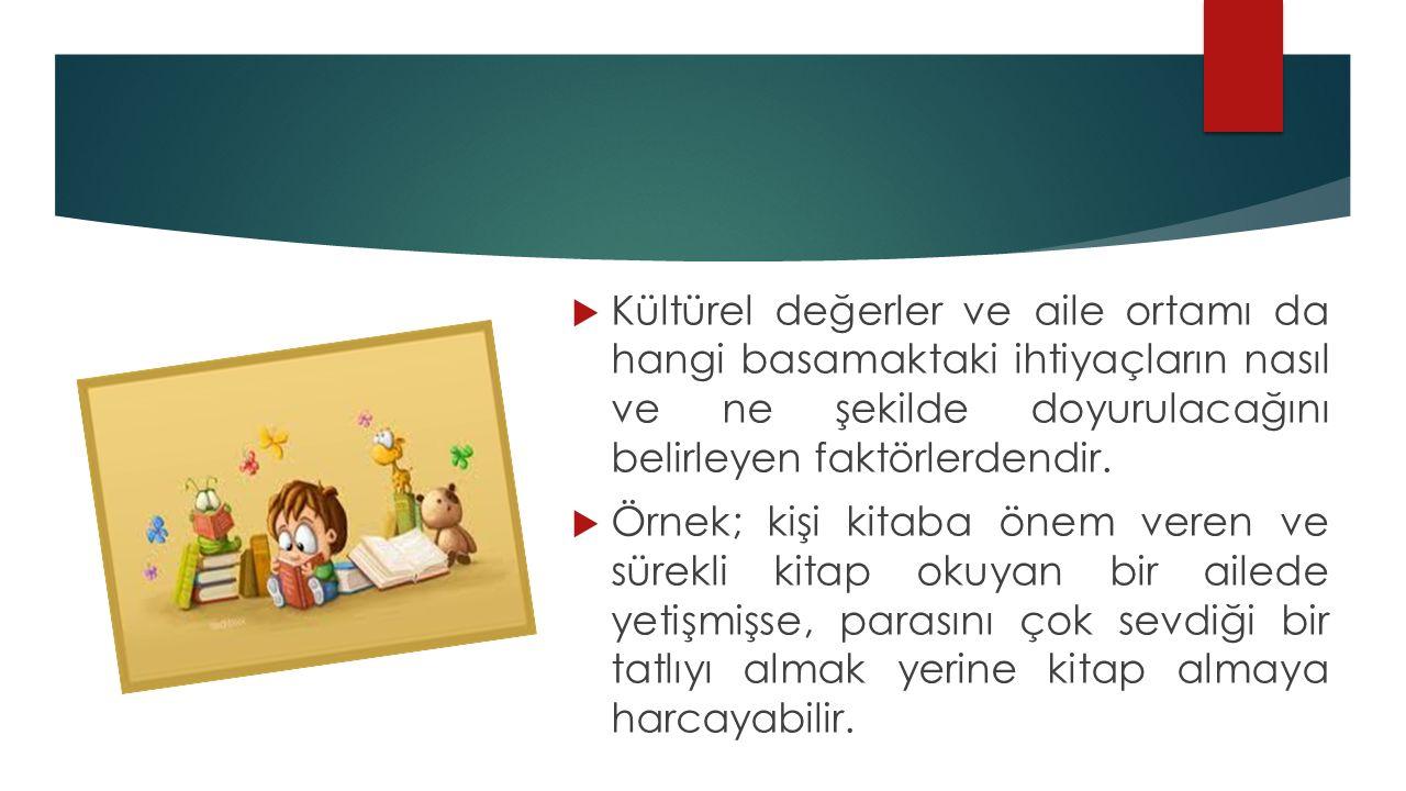 Kültürel değerler ve aile ortamı da hangi basamaktaki ihtiyaçların nasıl ve ne şekilde doyurulacağını belirleyen faktörlerdendir.